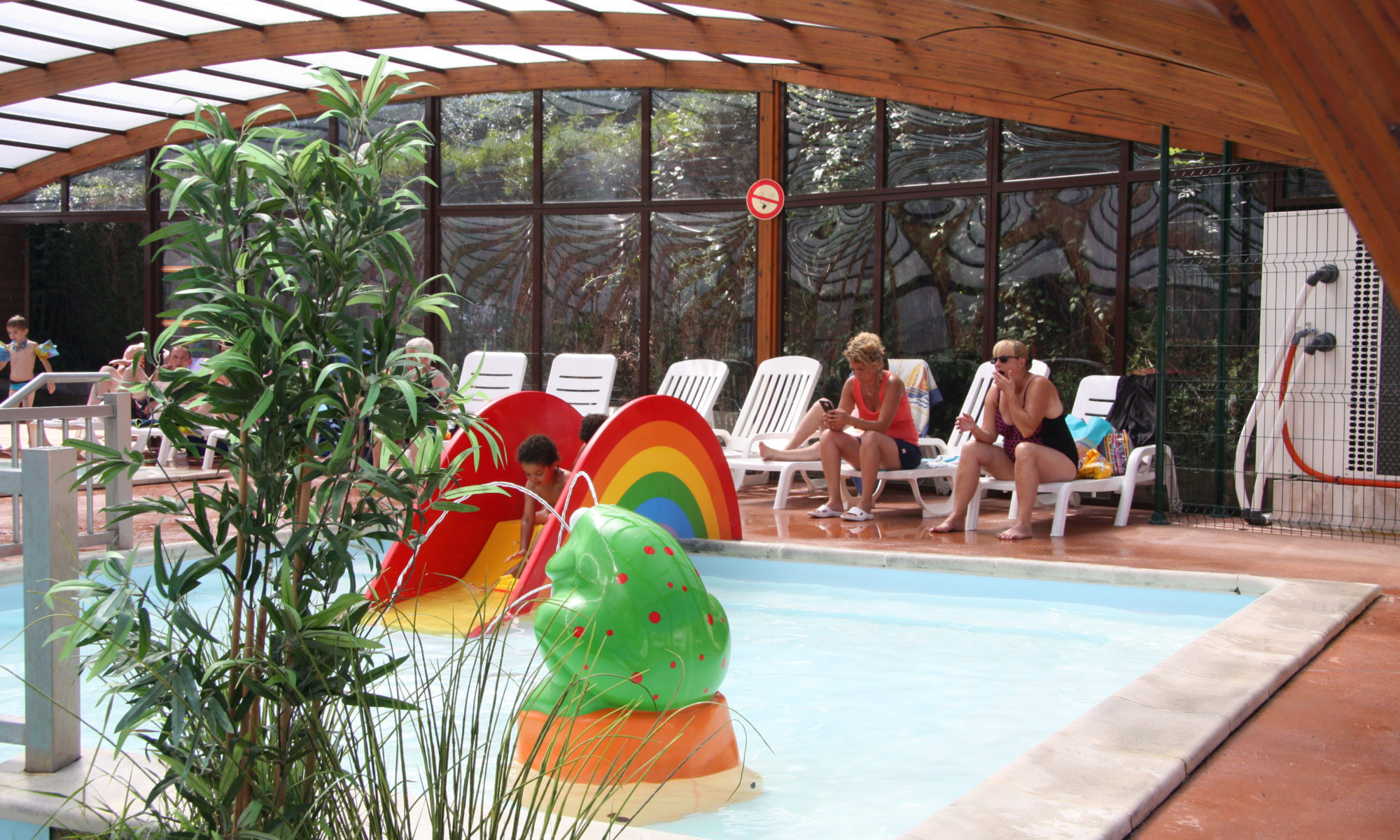 Superior Indoor Heated Swimming Pool,. Open From 20 April To 30 September In Camping  Bellevue In Villers Sur Mer In Normandy.