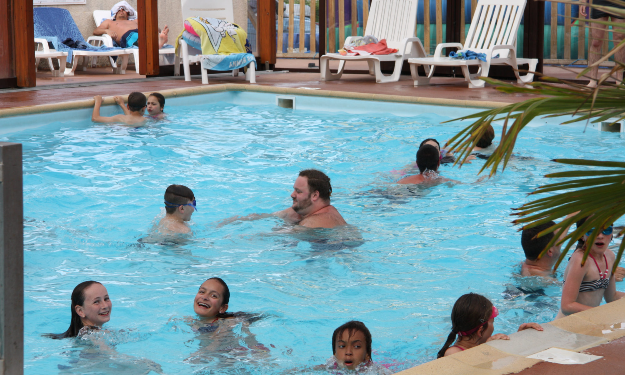 Indoor Heated Swimming Pool,. Open From 20 April To 30 September In Camping  Bellevue In Villers Sur Mer In Normandy.